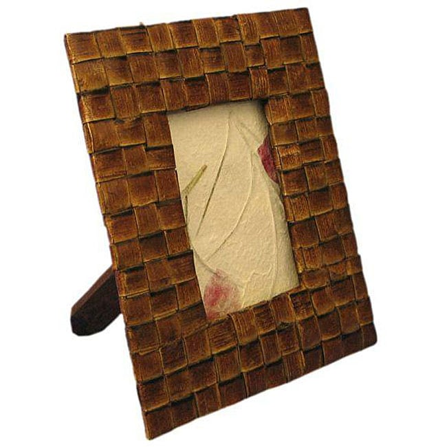 handmade woven palm leaf 3x5 inch picture frame thailand