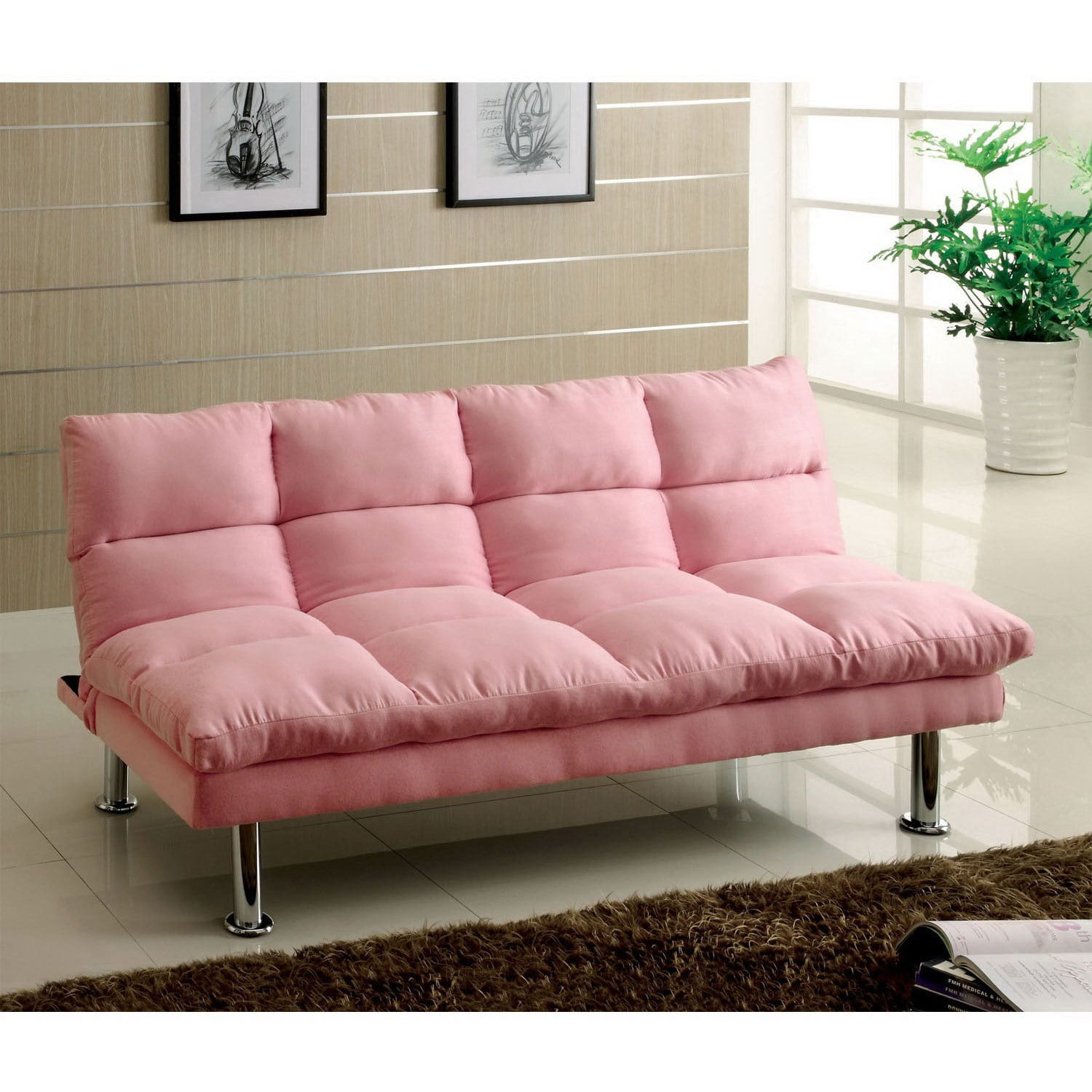 Furniture of America Willow Microfiber Sofa/ Futon (Pink)...