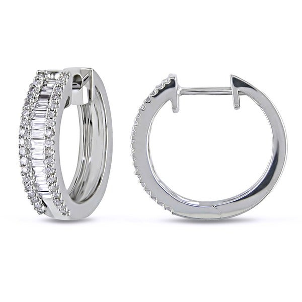 Miadora 10k White Gold 1/2ct TDW Diamond Hoop Earrings