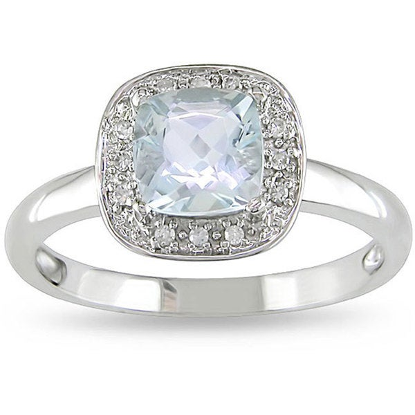 Miadora 10k White Gold Blue Round Aquamarine and Diamond Ring (H-I,I2-I3)