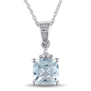 Miadora 10k White Gold Aquamarine and Diamond Necklace