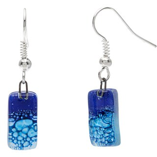 Handmade Silver Blue Glass Drop Earrings (Chile)