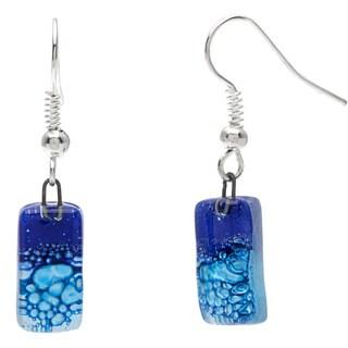 Handmade Silver Blue Glass Drop Earrings (Chile)