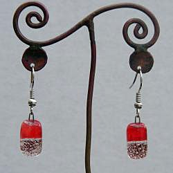 Handmade Silver and Red Glass Charm Dangling Earrings (Chile)