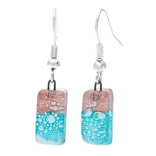 Handmade Silver Blue and Pink Glass Drop Earrings (Chile)