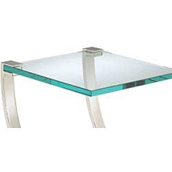 Nickel Finish Metal and Glass Square End Table - Thumbnail 1