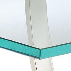 Nickel Finish Metal and Glass Square End Table