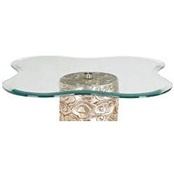 Hand Rubbed Silver Leaf Finish Flower Glass Accent Table - Thumbnail 1