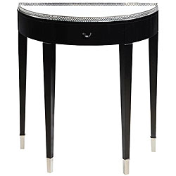 Ebony Finish 1-drawer Hall Table with Mirrored Top