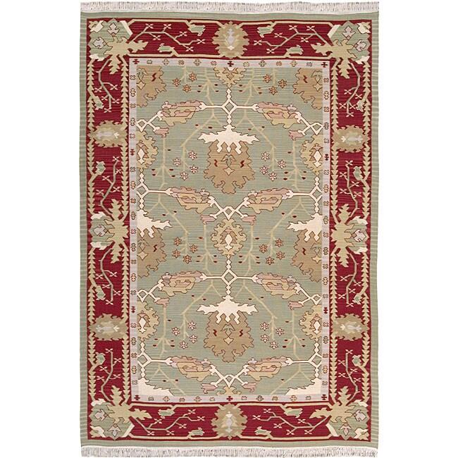 Nourison Samarkand Flatweave Reversible Olive Wool Rug (5'6 x 8'6)