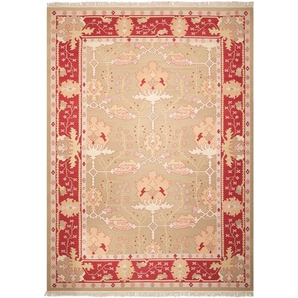 Nourison Samarkand Flatweave Reversible Olive Wool Rug - 9'9 x 13'9