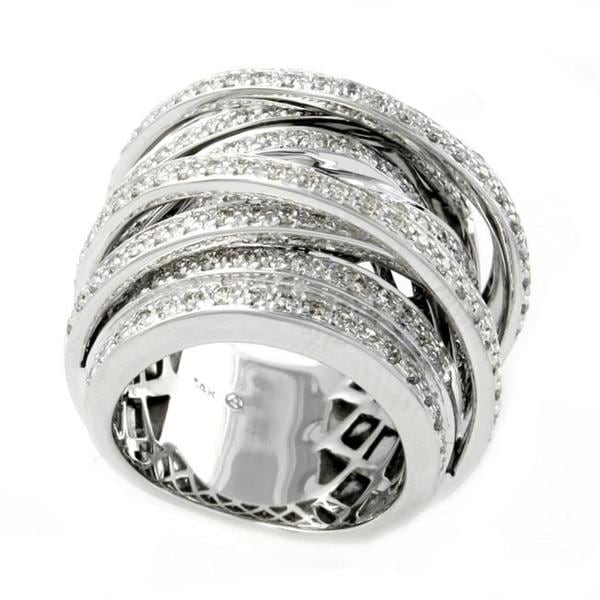 Beverly Hills Charm 14k White Gold 1 1/2ct TDW Diamond Wide Cross-over Ring