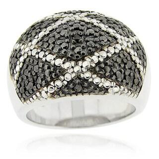 DB Designs Sterling Silver Black Diamond Accent Ring