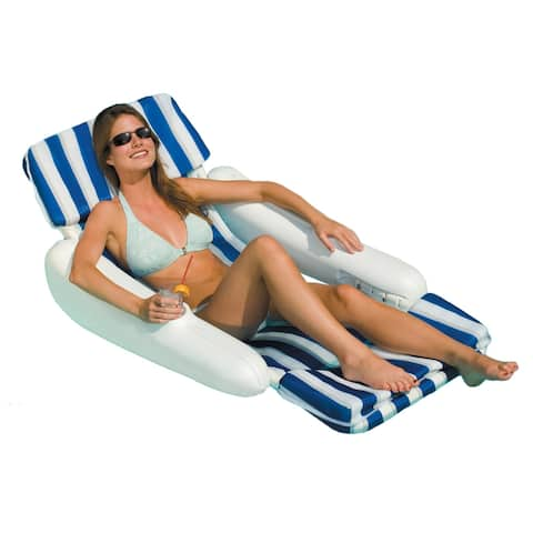 Swimline SunChaser Padded Floating Pool Lounger - Blue/White