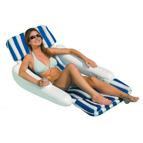 SunChaser Padded Floating Pool Lounger - Navy Blue Stripes