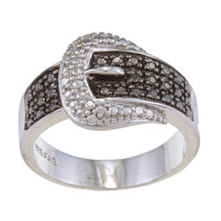 DB Designs Sterling Silver Black Round Diamond Accent Buckle Ring (More options available)