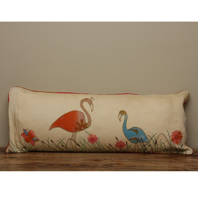 Cotton Crane Body Pillow Cover , Handmade in India