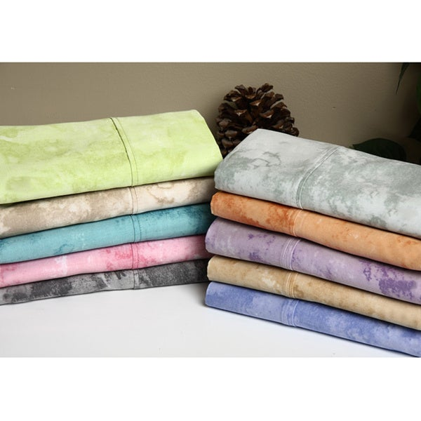 Expressions Horizons 300 Thread Count Sateen Cotton Acid Wash Printed Sheet Set