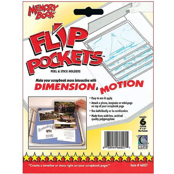 Flip Pockets Peel and Stick Holders (Pack of 6)