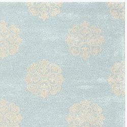Safavieh Handmade Soho Medallion Light Blue N. Z. Wool Rug (3'6 x 5'6) - Thumbnail 1