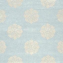 Safavieh Handmade Soho Medallion Light Blue N. Z. Wool Rug (3'6 x 5'6) - Thumbnail 2
