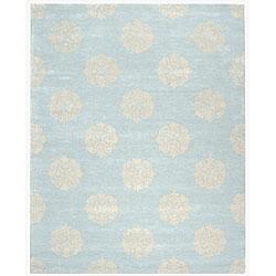 Safavieh Handmade Soho Medallion Light Blue N. Z. Wool Rug (3'6 x 5'6)
