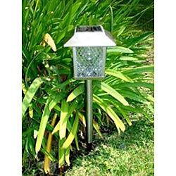 Stainless Steel Square Solar Powered LED Lights (Set of 6) - Thumbnail 1