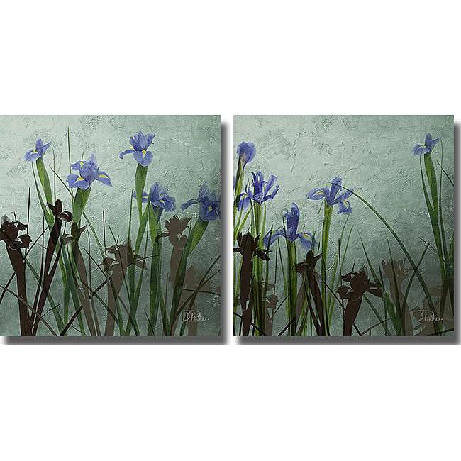 Patricia Pinto 'Blue Iris I & II' 2-piece Unframed Art Set