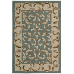 Nourison Hand-tufted Versaille Palace Aqua Rug (3'6 x 5'6) - Thumbnail 0