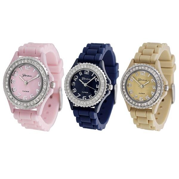 Geneva Women's Platinum Cubic Zirconia Accent Watch with Buckle Clasp