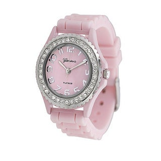 Geneva Women's Platinum Cubic Zirconia Accent Watch with Buckle Clasp
