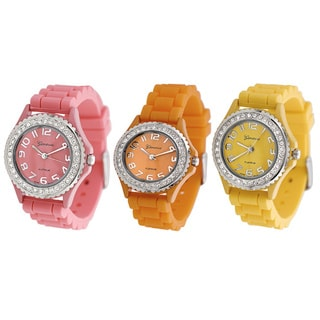 Geneva Women's Platinum Cubic Zirconia Accent Watch