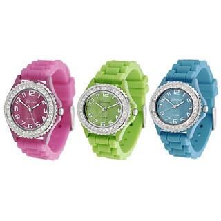 Geneva Women's Platinum Cubic Zirconia Quartz Accent Watch