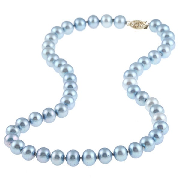DaVonna 14k 8-9mm Bule Freshwater Cultured Pearl Strand Necklace (16-36 inches)
