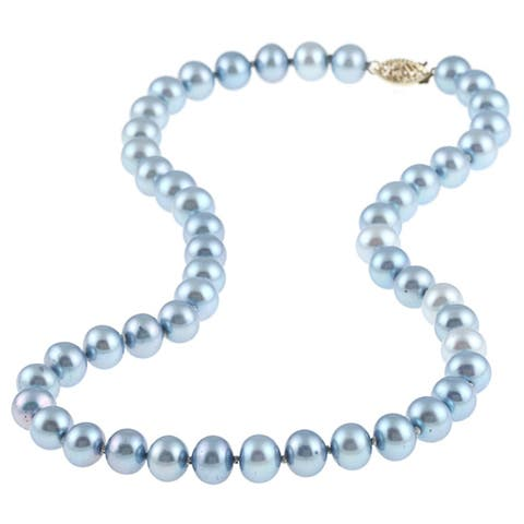 DaVonna 14k gold 8-9mm Blue Freshwater Cultured Pearl Strand Necklace (16-36 inches)