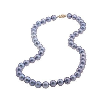 DaVonna 14k 9-10mm Bule Freshwater Cultured Pearl Strand Necklace (16-36 inches)