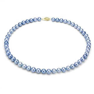 DaVonna 14k Gold 9-10mm Blue Freshwater Pearl Necklace, 24-inch