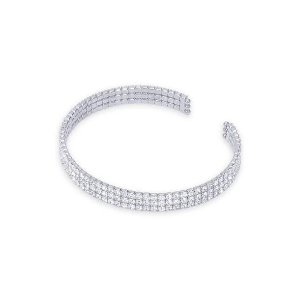 NEXTE Jewelry Silvertone 'Celebration' Cubic Zirconia 3-row Cuff Bracelet