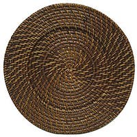 "ChargeIt! By Jay Round Rattan Brick Brown 13-inch Charger (Set of 4) - 13""d each"