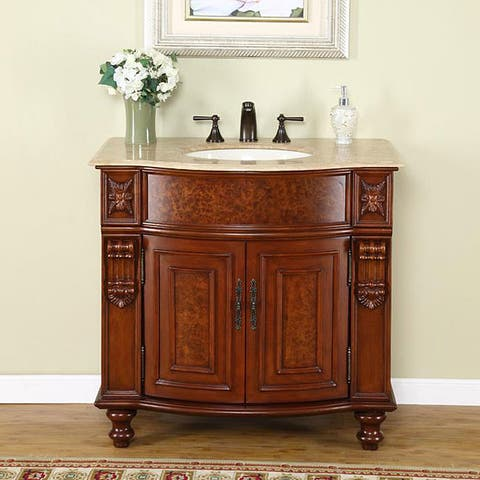 Silkroad Exclusive Elma Single Sink Traditional Bathroom Vanity