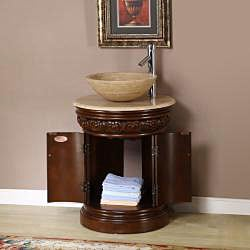 ... Silkroad Exclusive Bellevue 24-inch Vessel Sink Bathroom Vanity