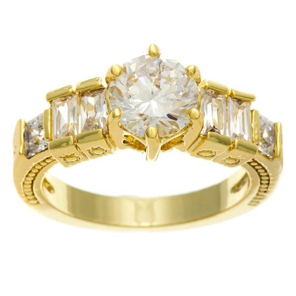 Simon Frank 14k Gold Overlay 'High Fashion' Cubic Zirconia Ring