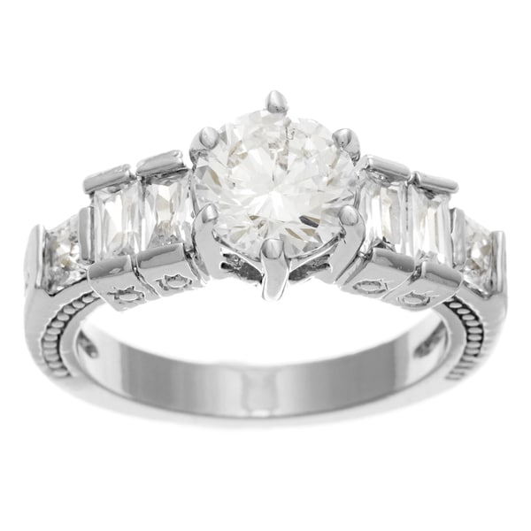 Simon Frank Designs 1.33ct. TDW Bridal/Engagement Inspired 14K WG Overlay   CZ Ring