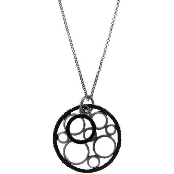 Finesque Sterling Silver 1/4ct TDW Black Diamond Circles Necklace