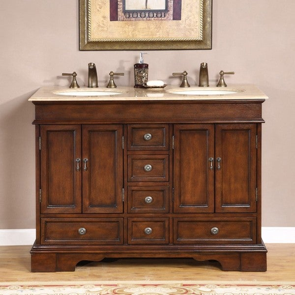 shop silkroad exclusive mesa 48 inch double sink bathroom vanity free shipping today