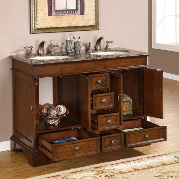 Silkroad Exclusive Mesa 48 Inch Double Sink Bathroom Vanity   Free Shipping  Today   Overstock.com   12677860