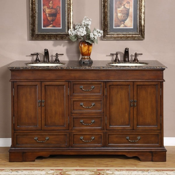 Shop silkroad exclusive tenino 60 inch double sink bathroom vanity free shipping today for 70 inch double bathroom vanity