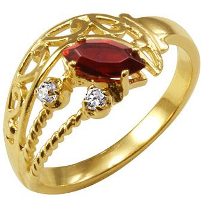 Simon Frank 14k Gold Overlay Red and Clear CZ Spanish Lace Ring - Thumbnail 0