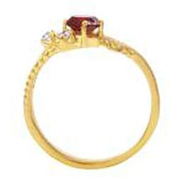Simon Frank 14k Gold Overlay Red and Clear CZ Spanish Lace Ring - Thumbnail 1