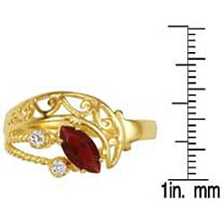 Simon Frank 14k Gold Overlay Red and Clear CZ Spanish Lace Ring - Thumbnail 2